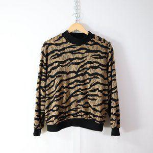 vintage 80s 90s mock neck pullover top S/M